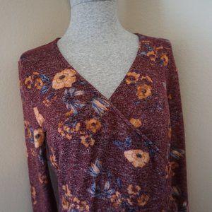 Olive & Oak Maroon Floral Ruched Dress
